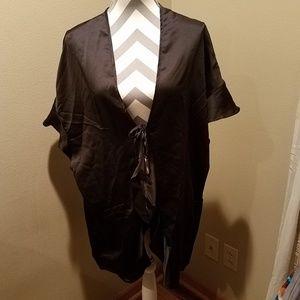 New Victoria Secret black silky tie kimono